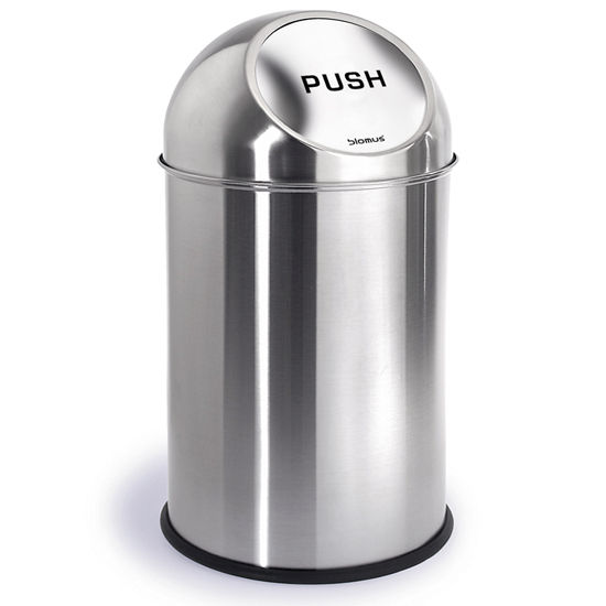 Brushed Stainless Steel Pushman Trash Can By Blomus