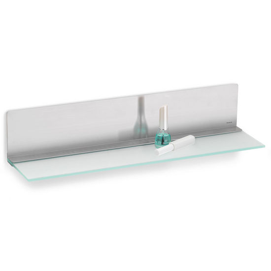 Blomus Nexio Flat Glass Shelf w/ Stainless Steel Back, 30 cm