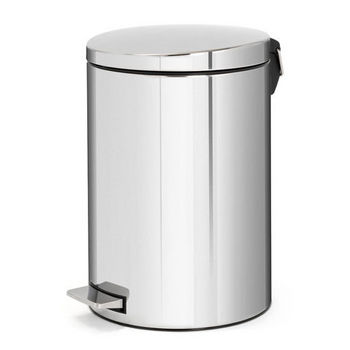 Brabantia Pedal Bin with Motion Control & Plastic Bucket with Food Trap, 20 liter, Brilliant Steel