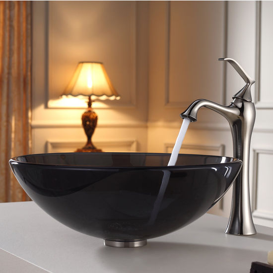 Kraus Clear Black Glass Vessel Sink and Ventus Brushed Nickel Faucet Set