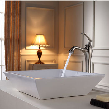 Kraus White Square Ceramic Sink and Ventus Brushed Nickel Faucet Set