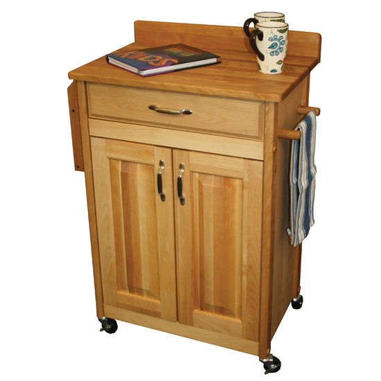 Deluxed Butcher Block Cart w/ Raised Panels and Backsplash