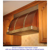 Canterbury Wall Mounted Copper Range Hood With Brass Trim
