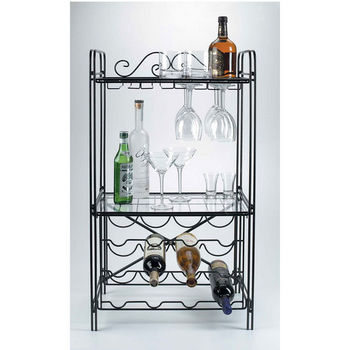 Concept Housewares Black Metal Wine/Stemware Floor Rack