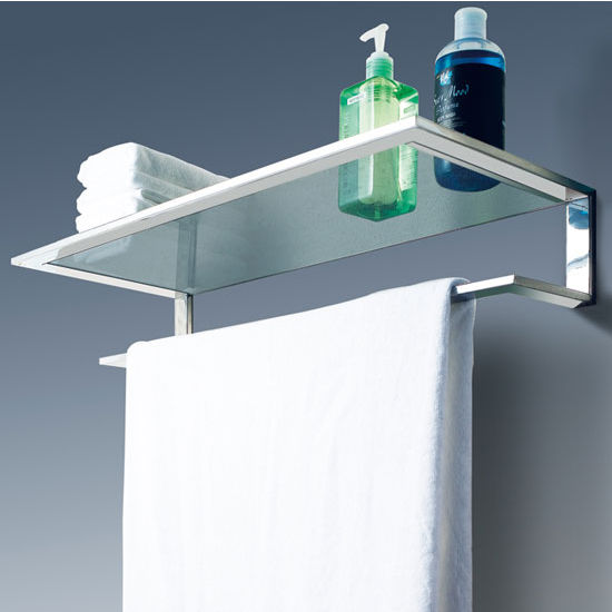 Cool Line Platinum Collection Bathroom Glass Shelf With Towel Bar KitchenSo