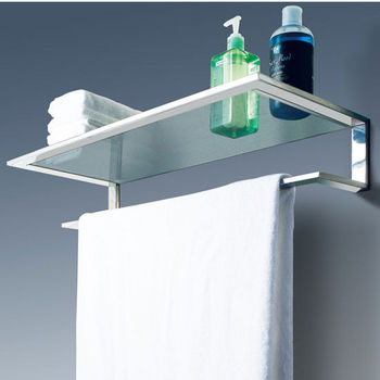 Cool-Line Platinum Collection Bathroom Glass Shelf with Towel Bar