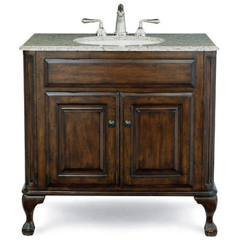 "Cole & Co. Custom Collection Estate Package, 37"" Vanity with ball-and-claw legs, Bella Crema Marble Top with Backsplash & Biscuit Sink, 37""W x 22""D x 35-1/4""H"