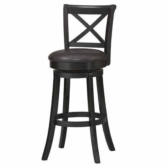 Covington X-Back Wood Swivel Bar Stool, Black, 30 inch