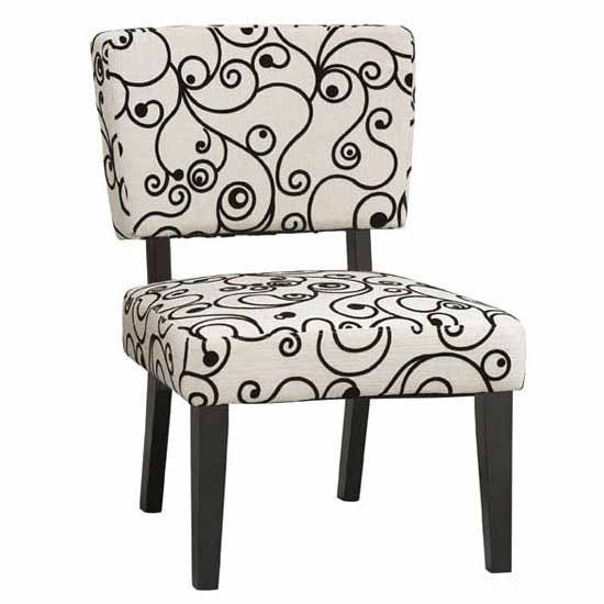 Covington Taylor Accent Chair, White & Black Circles with Black Frame