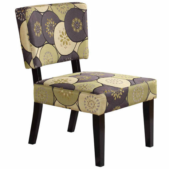 Covington Taylor Accent Chair, Grey & Green Circles with Black Frame