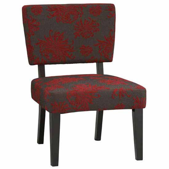 Covington Taylor Accent Chair, Red, Gray & Black Flower with Black Frame