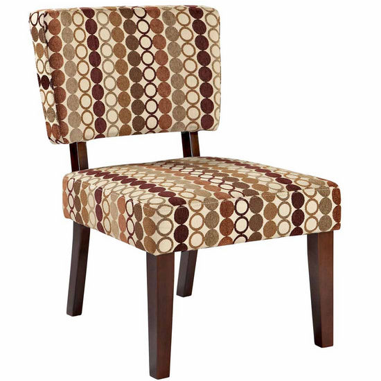 Covington Taylor Accent Chair, Earth Tone Rings with Dark Walnut Frame