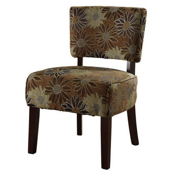 Linon Eden Mod Chair, Kayfare Blue Green Flower