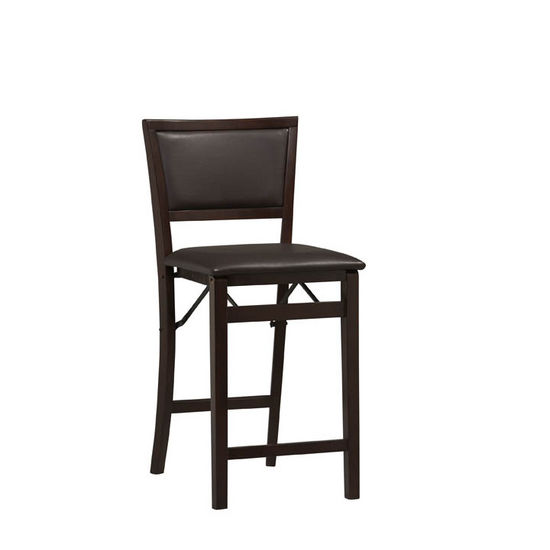 Triena Espresso Pad Back Folding Stools by Linon