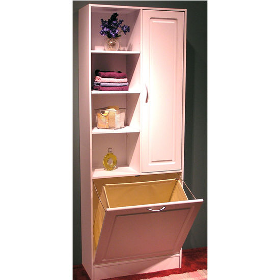 4D Concepts Bathroom Storage Tower with Pull-Out Hamper