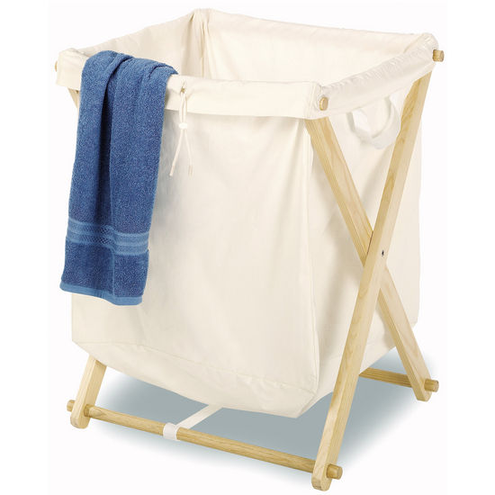 Folding Wood Laundry Hamper