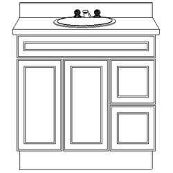 USA Series 36 Inch Wide Pilaster Base with Panel & 2-Drawers