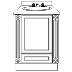 USA Series 24 Inch Wide Pilaster Vanity Base