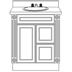 USA Series 30 Inch W Vanity Base with Modesty Panel