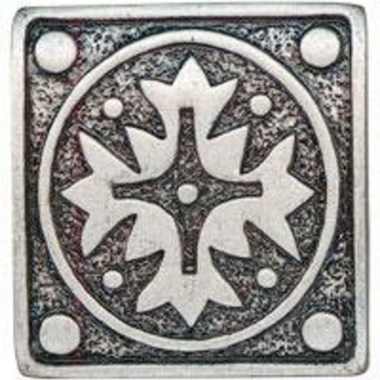 Dalka Square Snowflake Knob, Nickel Finish with Epoxy Color: Green Silk, Shown in Pewter Finish