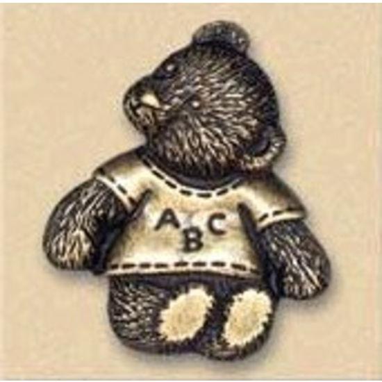 Dalka Fluffy Teddy Bear Knob, Antique Brass