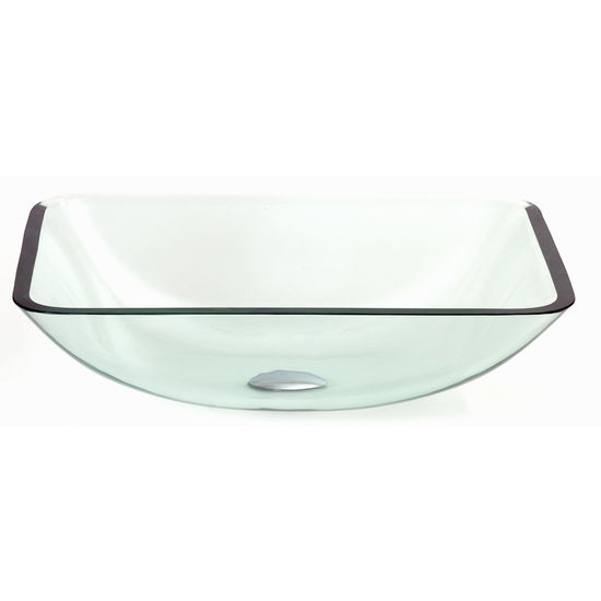 Dreamline Inch Tempered Glass Rectangular Vessel Bowl, 5 1/2 Inch W X 18