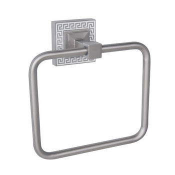 Echelon Home Greek Key Towel Ring, Brushed Satin Nickel finish