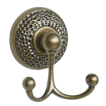 Echelon Home - Hammer Towel Double Hook, Antique Brass