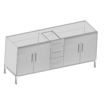 "Empire Daytona 72"" Vanity for 7322 Double Cut-Out Stone Countertops with 4 Doors & 3 Drawers"