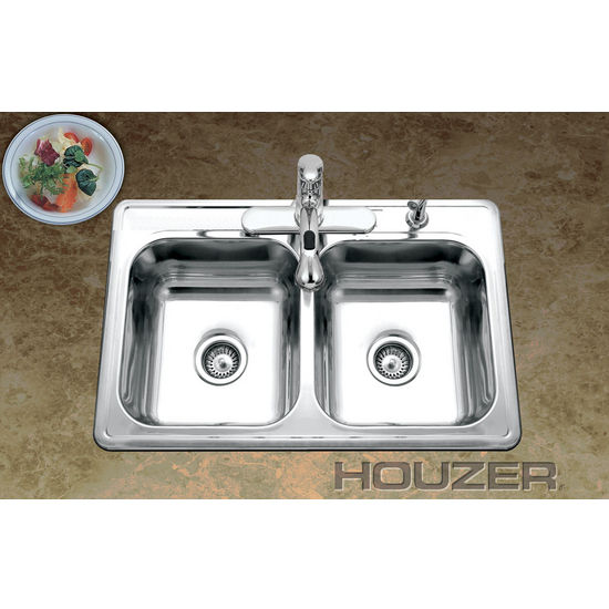 50/50 Topmount Double Bowl Kitchen Sink by Houzer