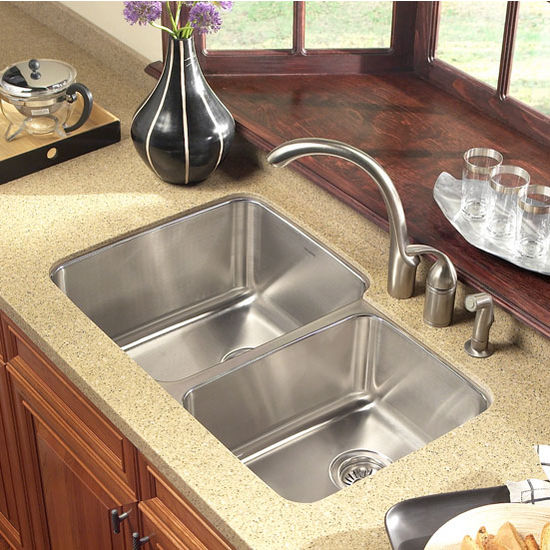 Houzer Medallion Gourmet Series 60/40 Double Bowl Sink