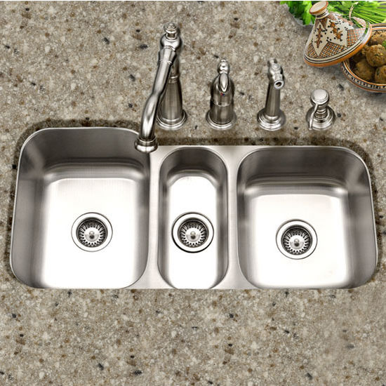 Houzer Medallion Gourmet Series Undermount Triple Bowl Sink