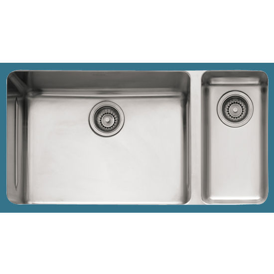 Franke Kubus Stainless Steel Double Bowl Undermount Sink, 33 w x 17-5 ...