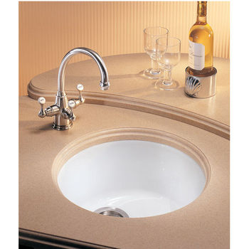 Fireclay Round Bowl Sink, shown in White