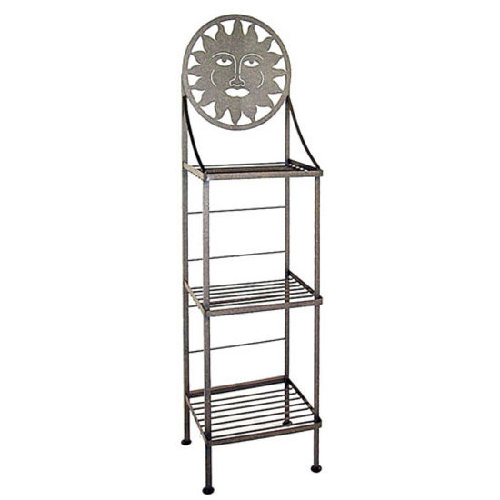 Grace Art/Silhoutte Hand Painted Bakers Rack, Cobblestone, Rose Floral Pattern