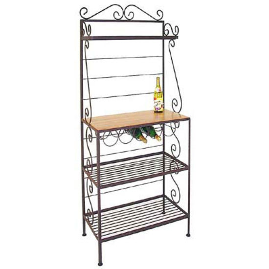 Grace Gourmet Style Bakers Rack, 1 Maple/3 Wire Shelves, Wine Rack, Brass Tips, Aged Iron