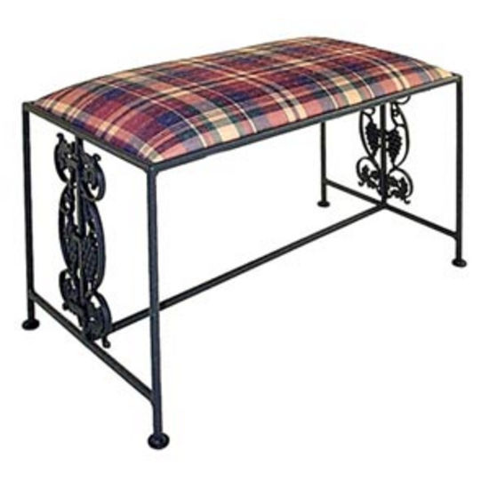 Grace Vineyard Wrought Iron Bench, 36in, Figurine Fabric, Antique Bronze Finish (Grace Collection B27-BR-F04) photo