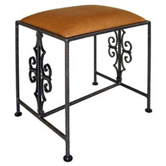Grace Gothic Curl Wrought Iron Bench, 36in, Figurine Fabric, Antique Bronze Finish (Grace Collection B2G-BR-F04) photo