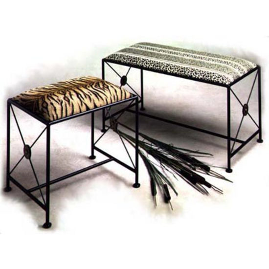 Grace Neo Classic Wrought Iron Bench - 36in, Figurine Fabric, Antique Bronze Finish (Grace Collection B2N-BR-F04) photo
