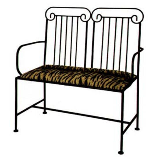 Grace Roman Wrought Iron Loveseat, 40in, Figurine Fabric, Antique Bronze Finish (Grace Collection LS10ARMRC-BR-F04) photo