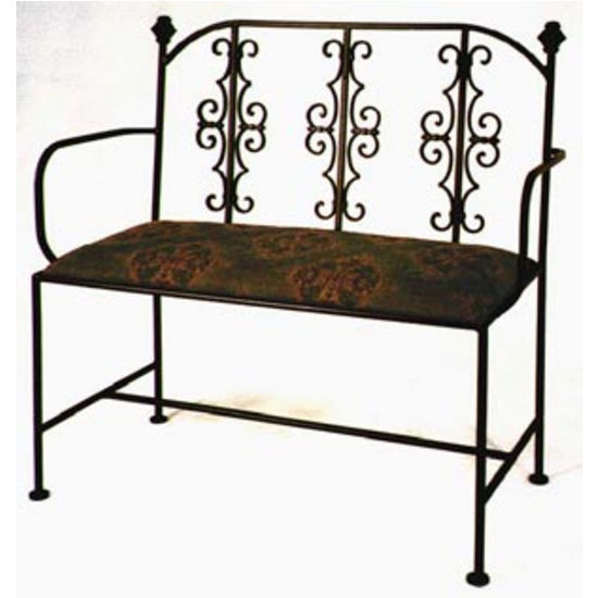 Grace Gothic Wrought Iron Loveseat, 40in, Figurine Fabric, Antique Bronze Finish (Grace Collection LS20ARMG-BR-F04) photo
