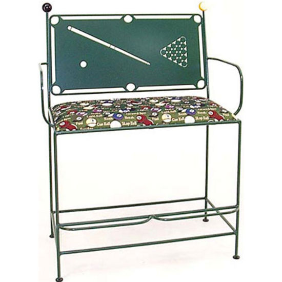 Grace Collection Spectator Bench with Pool Table Backrest in Aged Iron