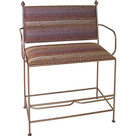 Grace Spectator Bench UPH Back/Arms, 40in, Figurine Fabric, Antique Bronze Finish (Grace Collection SB28ARM-UC-BR-F04) photo