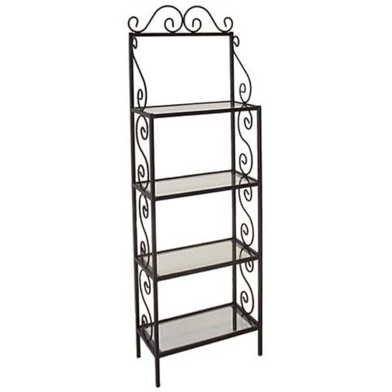 Grace 36 inch Traditional Style Bakers Rack, 4 Wood Shelves, Brass Tips, Sand, Cherry