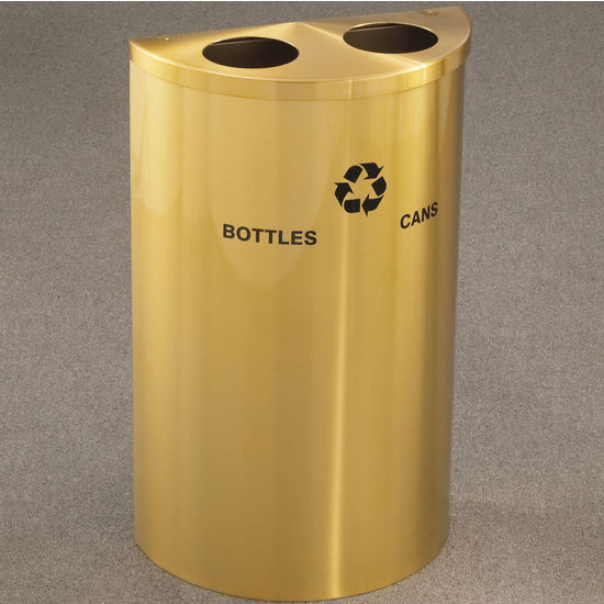Dual Purpose Half Round Recycling Receptacle with Hinged Lid and Steel Inner Liner