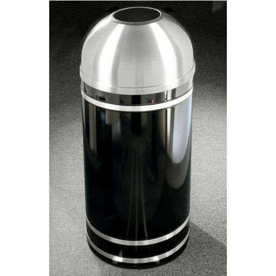 Monte Carlo WasteMaster� Collection Satin Aluminum Cover Open Dome Top Waste Receptacle