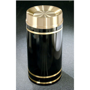Monte Carlo WasteMaster� Collection Satin Brass Cover Tip Action Top Waste Receptacle