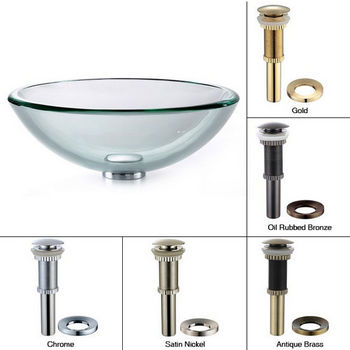Kraus Clear Glass 19mm Edge Vessel Sink