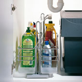 Kitchen or Bath Sink Caddy with Two Baskets (1 Removable)