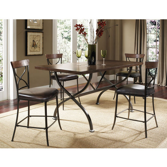Hillsdale Furniture Cameron 5-Piece Counter Height Rectangle Wood Dining Set with X-Back Stools